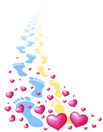 synchronously: Footprints of a love pair, surrounded by hearts  Isolated vector on white background
