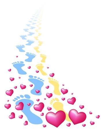 huellas pies: Huellas de un par de amor, rodeado de corazones aislados de vectores en el fondo blanco