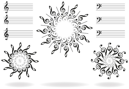 mozart: Treble clefs, bass clefs and scores, that form suns and stars  Isolated vector on white background