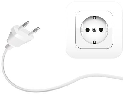 mains: Illustration of a plug and a socket to connect electrical equipment  Isolated vector on white background