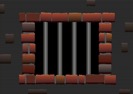 shadowy: Barred window of a jail  Isolated vector