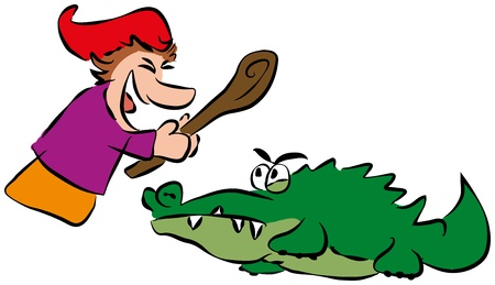 scrimmage: Punch hits crocodile with a stick  Isolated vector on white background  Illustration