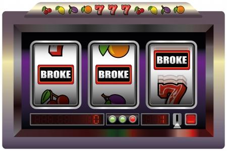 broke: Slot Machine Broke - Illustration of a slot machine with three reels, slot machine symbols and the lettering BROKE  Isolated vector on white background  Illustration