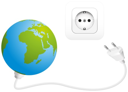 sparingly: Global Power Consumption - Illustration of the earth with a plug, and a socket  Isolated vector on white background