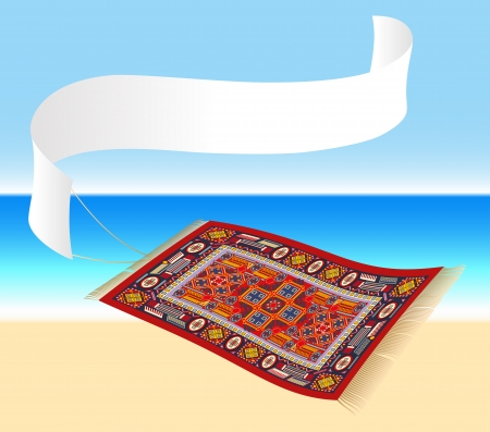 aladin: Magic Carpet with Banner - Illustration of a magic carpet  flying carpet  with a banner that can be labeled  Ocean shore in the background  Isolated vector  Illustration