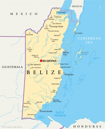 politically: Belize Political Map Illustration