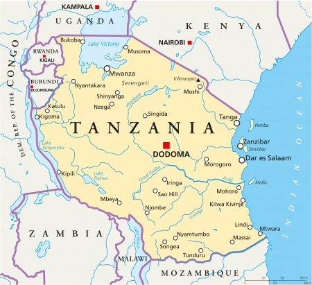 Tanzania Political Map Vector