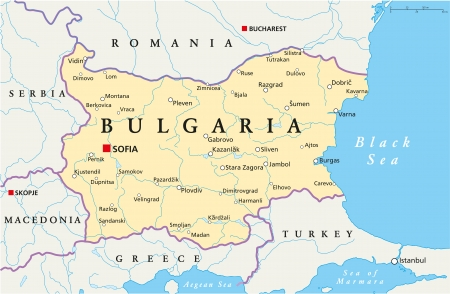 Bulgaria Political Map Vector