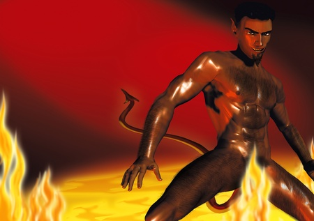 Realistic illustration of a hot devil in the hot, burning hell Stock Illustration - 22151725