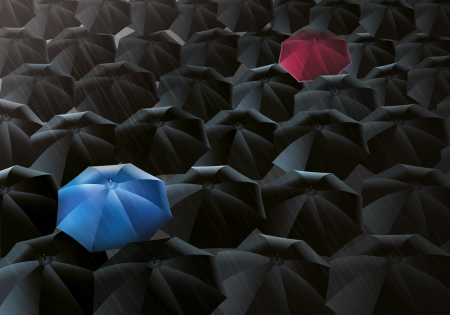 however: Illustration of black umbrellas in the drizzle - However, one is blue and one is red