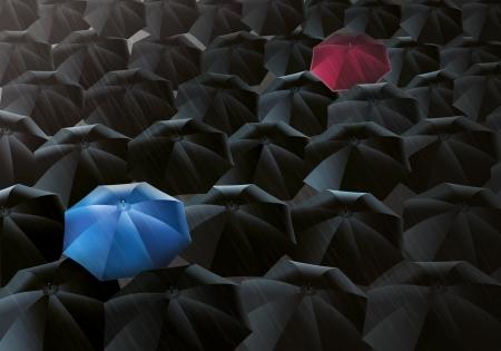 lluvia paraguas: Ilustración de paraguas negros en la llovizna - Sin embargo, uno es azul y el otro es de color rojo