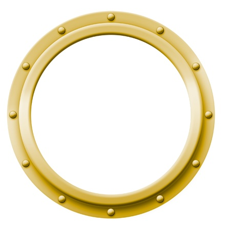 Brass porthole that can be imaged with any photo, illustration or text  Stock Photo