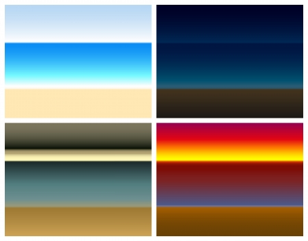 Four different seaside color gradients  turquoise sea at noon - at night on the beach - imminent storm front - romantic sunset Vector