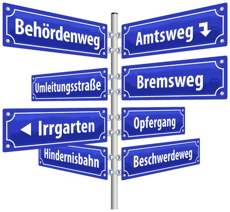 ordeal: Street signs with names that imply annoying administrative procedures and official channels  German labeling   Isolated vector on white background