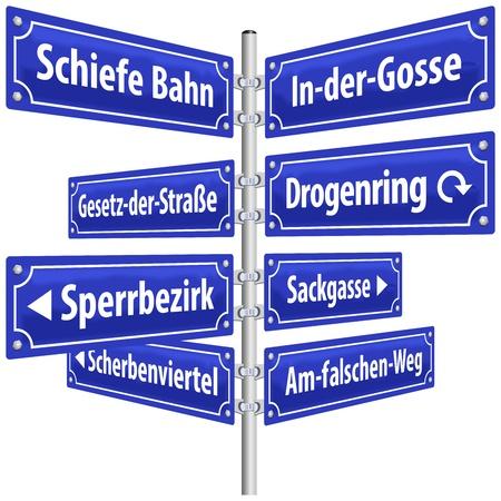 delinquency: Street signs with names that imply life in slums and its resulting criminality  German labeling   Isolated vector on white background   Illustration