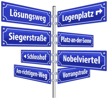 fortunately: Street signs with names that imply a successful and prosperous way of life  German labeling   Isolated vector on white background