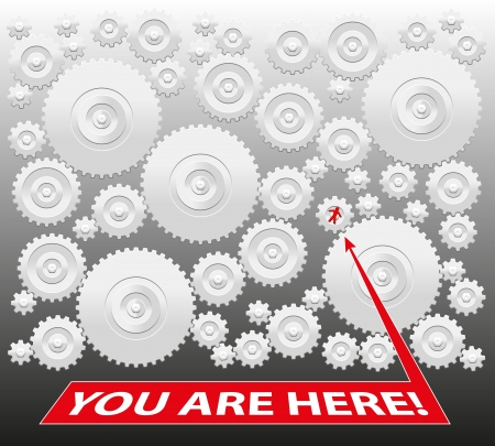 You are here  - Gearbox, which demonstrates both that you are a prisoner - bound to the system - or on the other hand that you are part of a strong team working together  Isolated vector on grey background  Illustration