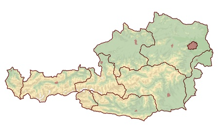 Topographic map of Austria in Europe, which is not labeled  However, the borders of the cities and the nine provinces are visible