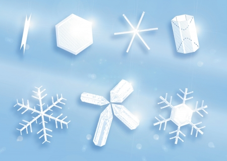 piastrine: Varie forme di cristalli di neve come le canne, piastrine, asterischi, cilindri e fiocchi di neve esagonale
