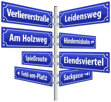 ordeal: Street signs with names that imply lifestyle of losers  German labeling   Isolated vector on white background   Illustration