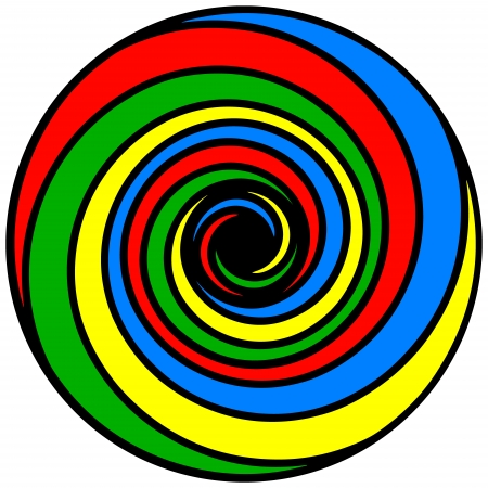 energized: Psychedelic spiral of basic colors  Illustration