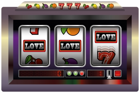 slot in: Illustration of a slot machine with three reels, slot machine symbols and the lettering LOVE  Isolated vector on white background