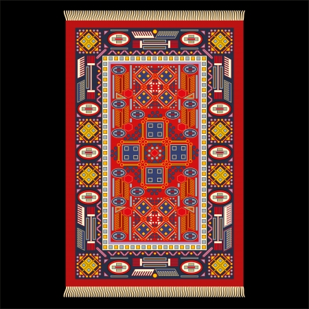 far east: Illustration of a carpet  Isolated vector on black background  Illustration