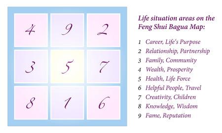 shui: Feng Shui Bagua Illustrazione di un Feng Shui Bagua, globalmente spiegazione delle nove aree situazione di vita vettore isolato su sfondo bianco
