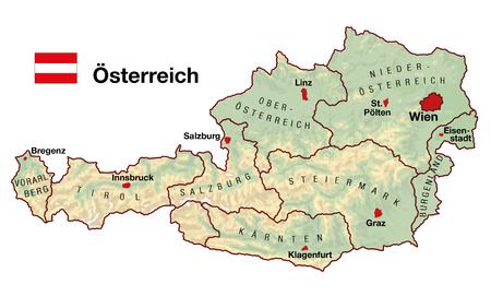 of mozart: Topographic map of Austria in Europe with cities, federal states, borders and flag  German labeling  Stock Photo