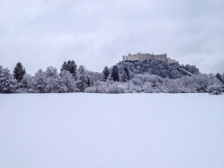 Medieval fortress in Salzburg, Central Europe, in snowy winter