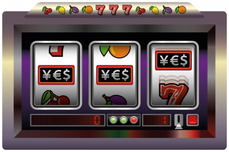 slot machine: Illustration of a slot machine with three reels, slot machine symbols and the lettering YES  Yen- Euro- and Dollar-Sign   Isolated vector on white background