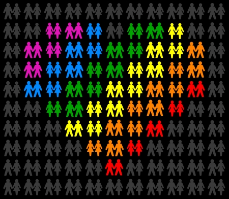 Icons of same sex couples, that form a multicolored heart and stand out from the gray crowd  Isolated vector on black background  Vector