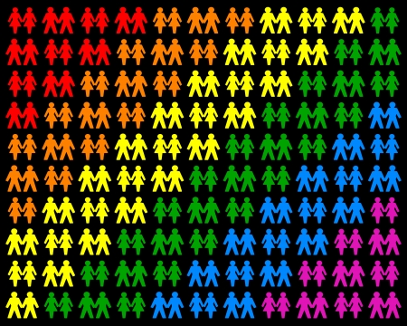Icons of same sex couples, that form a multicolored field  Isolated vector on black background  Vector