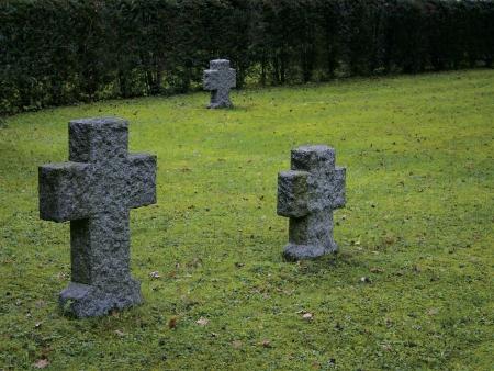 deceased: Three granite gravestones on a quiet graveyard  Stock Photo