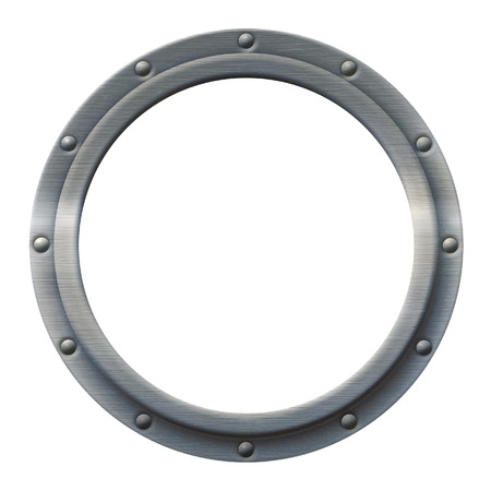Iron porthole that can be imaged with any photo, illustration or text