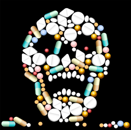 poisoned: Tablets, pills and capsules, that shape a creepy skull  Illustration