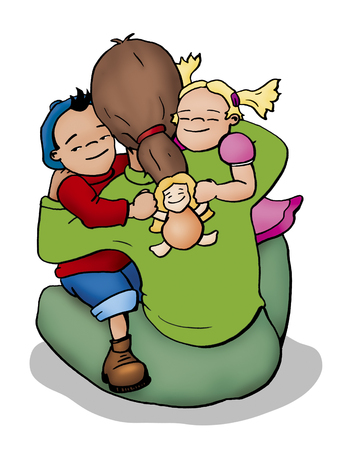 easiness: Illustration of a mother, a boy and a girl hugging