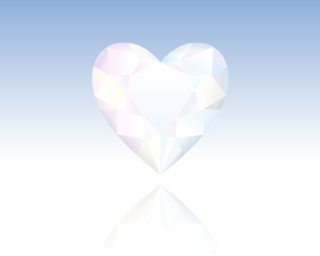 Finely polished crystal in the shape of a heart