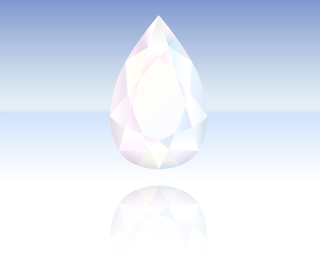 Finely polished crystal in the shape of a drop