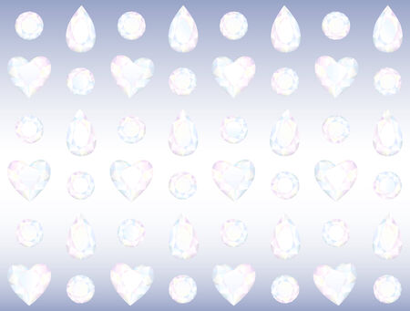 Seamless Crystal Wall composed of Hearts, Drops and Brilliants