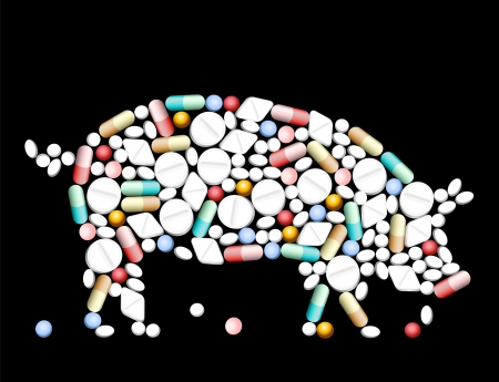 animal abuse: Tablets, pills and capsules, that shape a pig