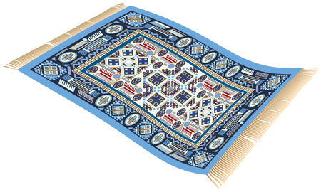 voador: Ilustração de um tapete de vôo mágico tapete de 1001 noites que pode ser usado para o transporte de pessoas para o seu destino Ilustra��o