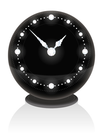 Noble black clock with diamonds on the face Stock Vector - 24441783