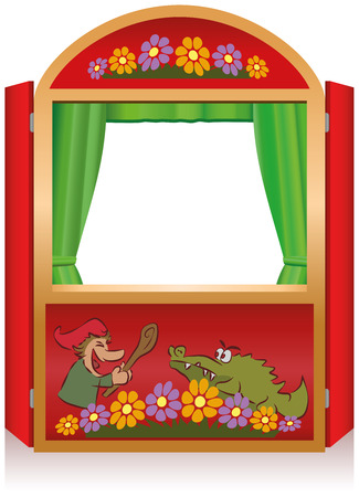 show garden: Punch and Judy, a traditional, popular puppet show  Red booth for the puppeteer  Illustration