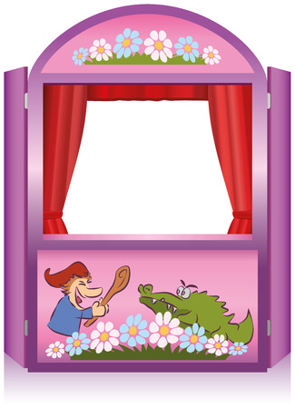 jardin de infantes: Punch y Judy, un popular show de títeres tradicional stand, de color rosa para el titiritero