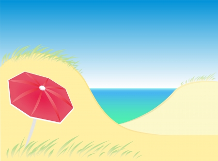 easygoing: Sand dunes by the sea with a lone red parasol  Isolated vector