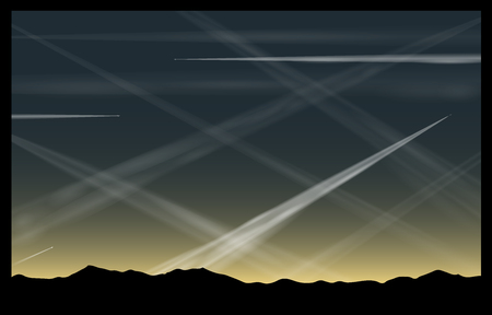 promotes: Many contrails of airplanes in the evening sky, that pollute the air and promotes global warming  Illustration