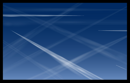 steam jet: Airplane Contrails Blue Sky Illustration