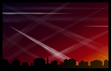 promotes: Many contrails of airplanes in the red evening sky, that pollute the air and promotes global warming