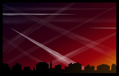 contaminacion acustica: Muchas estelas de los aviones en el cielo rojo por la noche, que contaminan el aire y promueve el calentamiento global